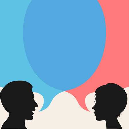 Dialog - Speech bubbles with two faces Çizim