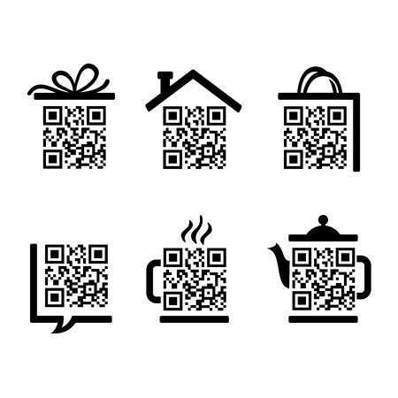 QR コードです。ウェブサイトのための絵文字のセット  イラスト・ベクター素材