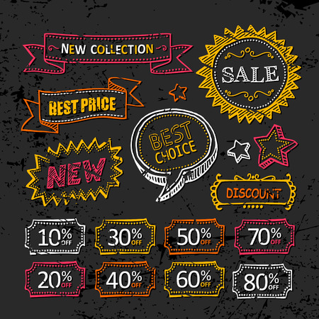 Discount labels. Hand drawn Vector