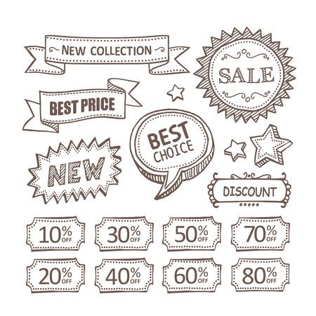 emphasis: Retro discount labels Illustration