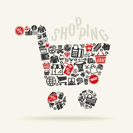 Kar met de achtergrond patroon van winkelen pictogrammen Stock Illustratie