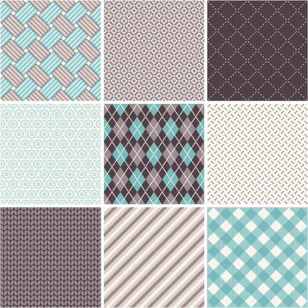 Seamless patterns set - tartan, argyle, sell Illustration