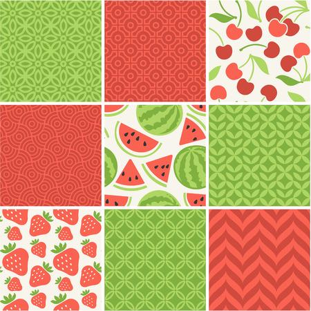 Seamless vector patterns set - summer berries backgrounds 일러스트