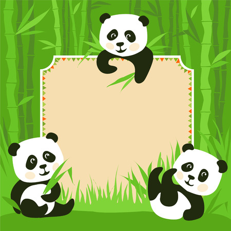 Cartoon frame - bamboo & three little pandas illustration Çizim