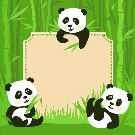 oso panda: Marco de la historieta - el bambú y tres pequeños ilustración pandas Vectores