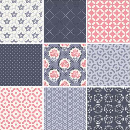 Seamless patterns set - simple wedding theme