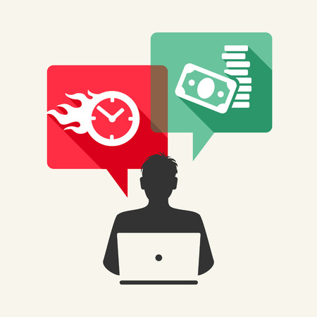 cash money: Time is money. Man with laptop and speech bubbles