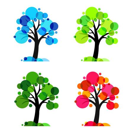 Quattro stagioni - 4 alberi vettore Archivio Fotografico - 32363763