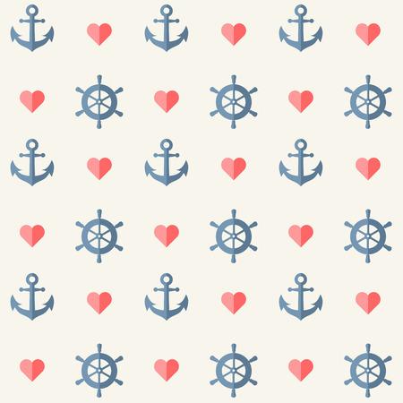 ancla: Fondo náutica sin fisuras con las anclas y las ruedas de la nave