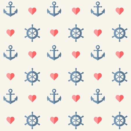 cute pattern: Seamless nautical background with anchors and ship wheels