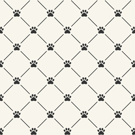 dog track: Simple seamless vector pattern with paw prints