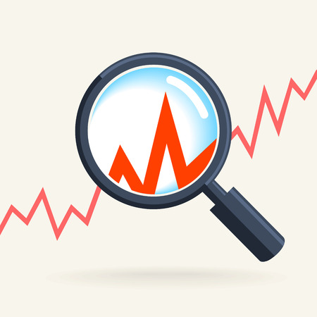 magnifying glass icon: Business concept - retro magnifying glass, data analysis Illustration
