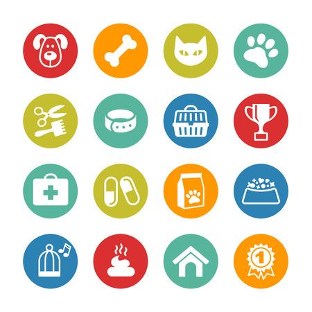 Animales iconos conjunto. Emblemas de veterinaria, farmacia veterinaria Ilustración de vector