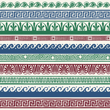 Greek style seamless borders - hand drawing 版權商用圖片 - 32574589