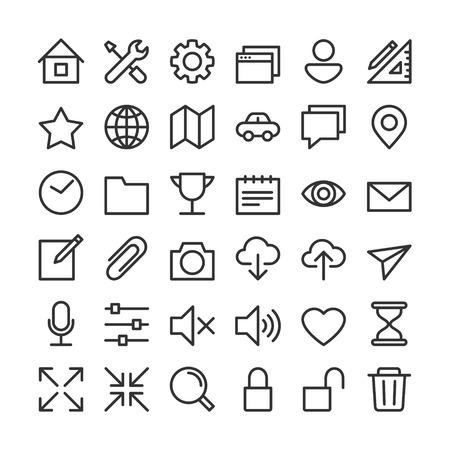 Apps gebruikersinterface elementaire eenvoudige pictogrammen instellen Stock Illustratie