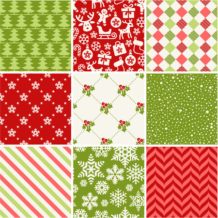 diamonds pattern: Set of seamless christmas patterns