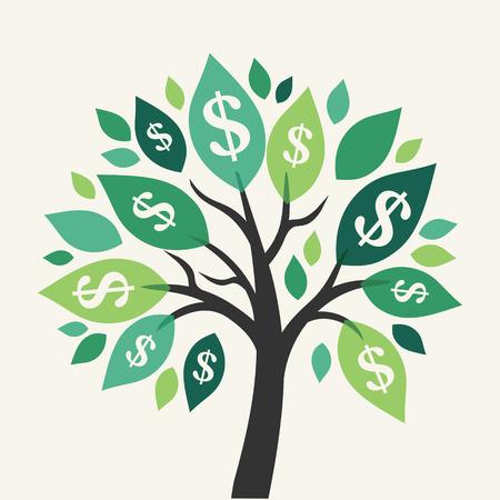 Vector dinero árbol - símbolo de negocio de éxito