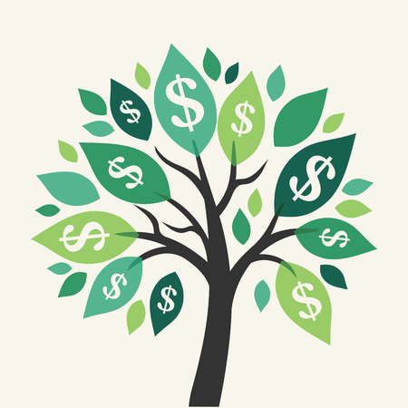 grow money: Vector money tree - symbol of successful business