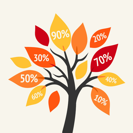 Big sale symbol - autumn tree with discount labels Vector