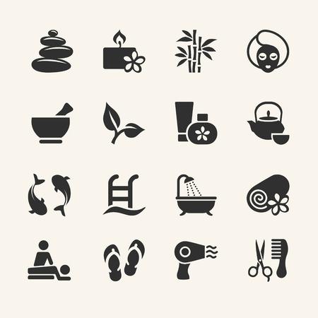 massage huile: Spa icons set, Image vectorielle