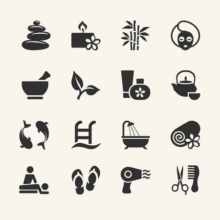 Spa icons set, stock vector Vector