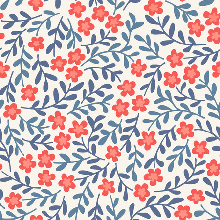 Simple seamless vector pattern with flowers Stock Illustratie