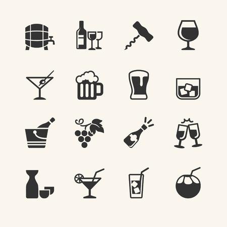 Alcohol drink - icon set