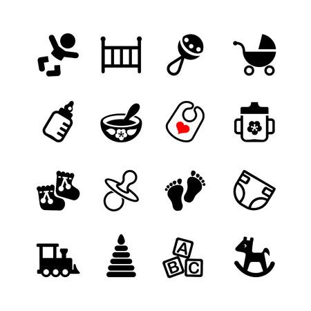 teteros: Conjunto de 16 iconos de la web. Bebé, lactancia, niños