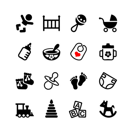 letti: Set di 16 icone web. Bambino, lattante, bambino