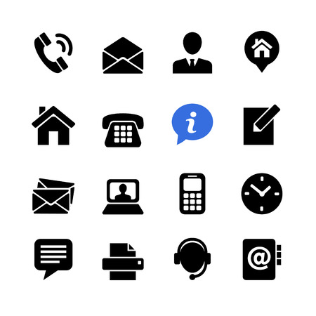 Webcommunicatie icon set: contacteer ons Stock Illustratie