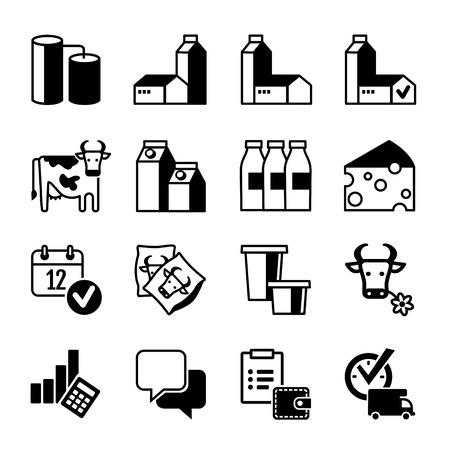 cows: Icon Set - Dairy production, range, sales, profits Illustration