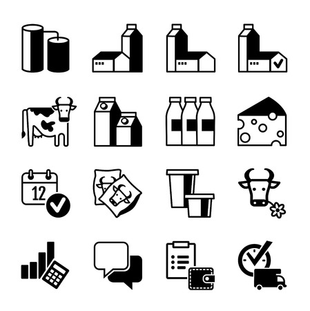 caja de leche: Icon Set - L�cteos producci�n, gama, ventas, beneficios Vectores