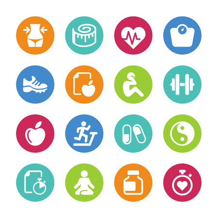 fitness: Set - 16 Gesundheit und Fitness icons Illustration