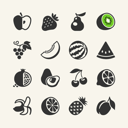 Set of black simple icons - fruits and berries
