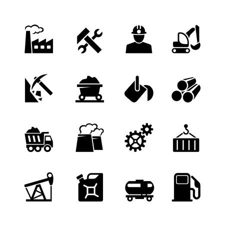 Industriële web icon set zwart Stock Illustratie