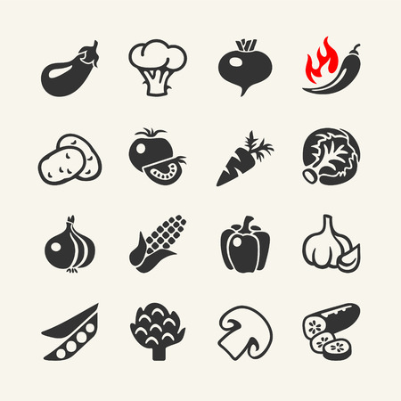 Vegetables vector web icon set Çizim