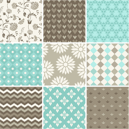 Seamless vector patterns set Çizim