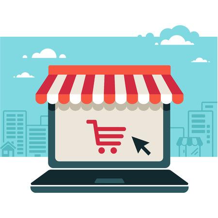 Online-Shop. Verkauf, Laptop mit Markise
