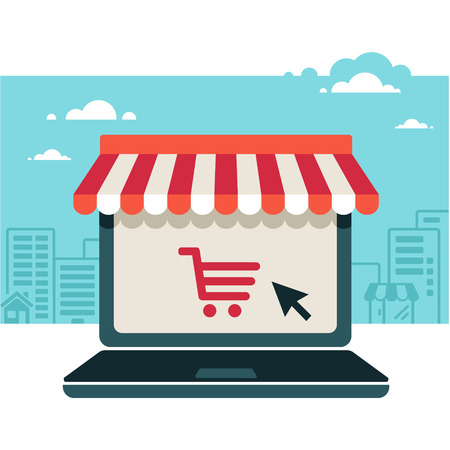 shopping cart online shop: Online store. Sale, Laptop with awning