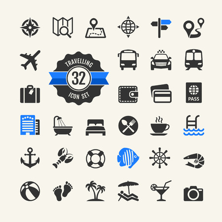pool party: Web icon set - travel, vocation and inbound tourism