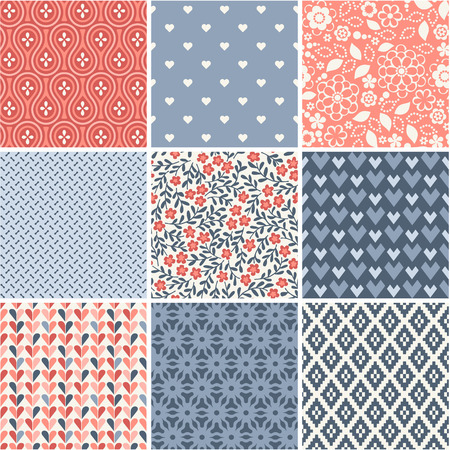 Seamless patterns set - simple wedding theme