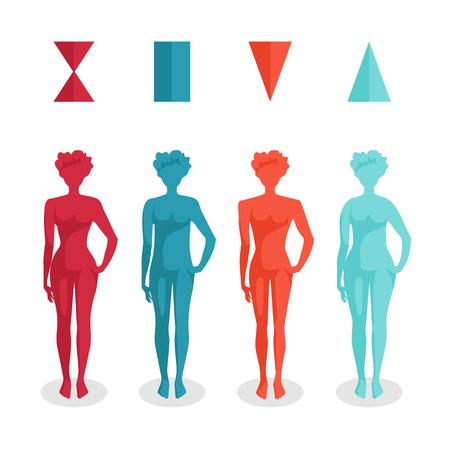 reloj de arena: Femenino formas del cuerpo - cuatro tipos