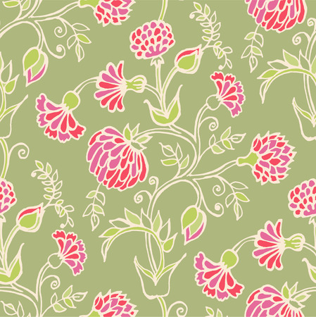 aster: Floral vector seamless pattern. Hand drawn