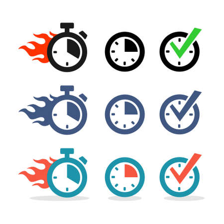 flames icon: Web icons set. Time, stopwatch, clock Illustration