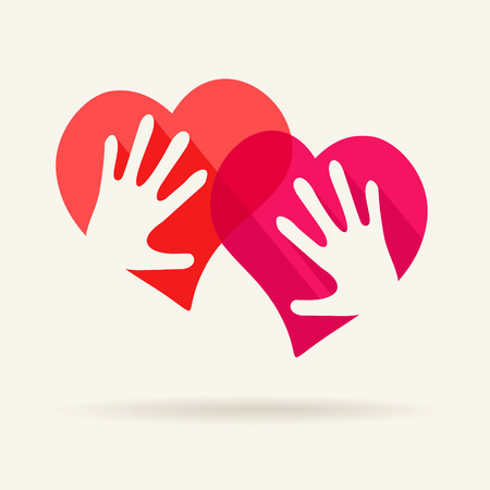 betrothal: Two hearts and two hands - symbol of love Illustration