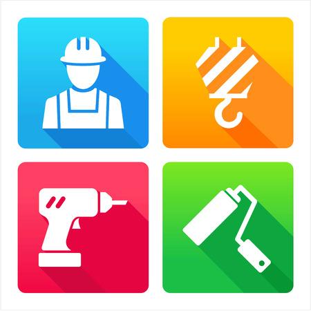 builder logo: set 4 icons - construction, renovation, decoration, tools