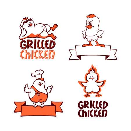 cartoon chicken: Grilled chicken. Company logo set
