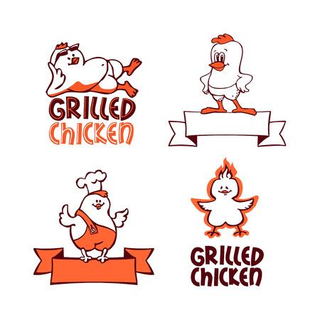 pollo caricatura: Pollo a la parrilla. Logotipo de la empresa conjunto