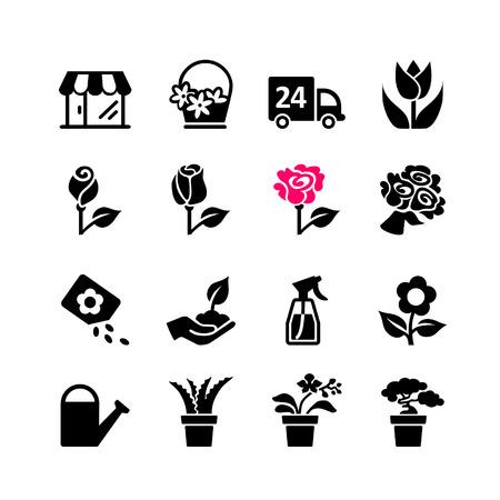 flower shop: Web icon set - florist, flower shop, bouquet, pot Illustration
