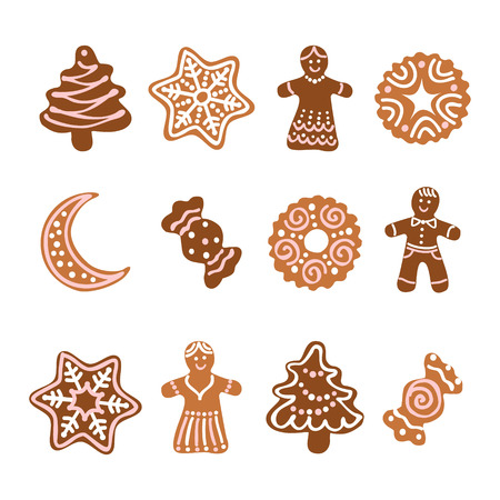 Set web icon. Christmas gingerbread cookies